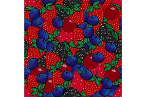 Seamless pattern with different berries.