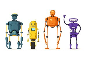 Set of robots. Technology, future. Cartoon vector illustration