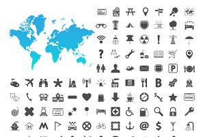 Navigation map icons set.