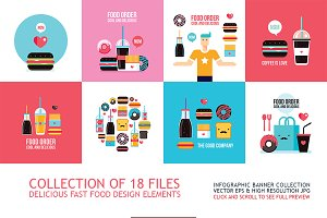 18 Fast food banners design elements