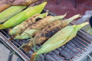 Corn grilled on stove in traditional