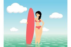 Woman surfer stay in sea water
