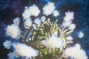 Planet City 3d model corona renderer