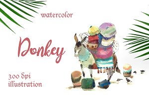SALE! Watercolor donkey kids