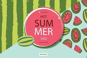 Summer sale in watermelon background