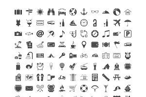 121 icons vacation and travel.