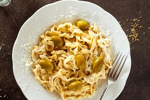 Homemade freshly prepared tagliatell