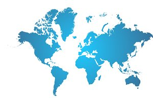World Map Blue.