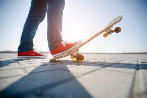 Skater's feet on the skate