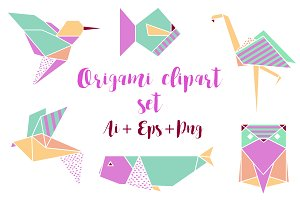 Origami Clipart Set Png Ai Eps