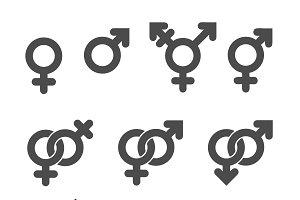 Gender symbol icons.