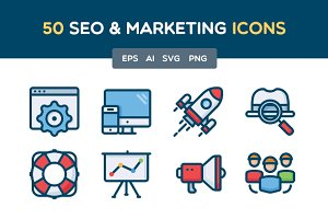 50 SEO and Marketing icons