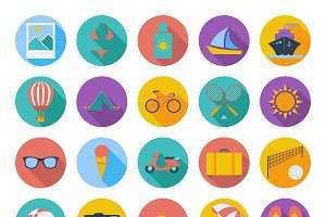 Summer flat color icons.
