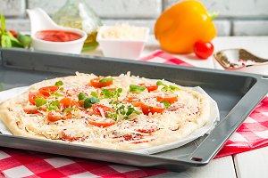 Raw homemade Pizza
