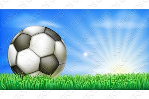 Soccer football ball on pitch