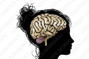 Woman silhouette brain