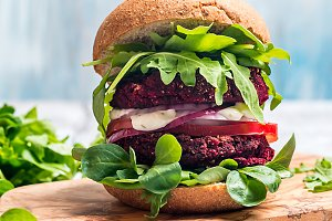 Vegetarian burger made of beetroot