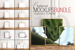 Frame mockupsbundle,gold,wood,W&B