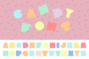Bright colorful font. Funny alphabet