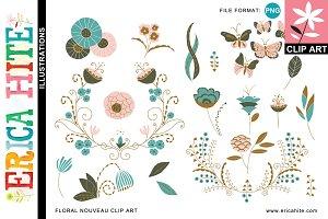 Floral Nouveau Clip Art (PNG) +Bonus
