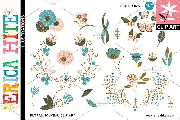 Floral Nouveau Clip Art (PNG) +Bonus ~ Illustrations on Creative ...