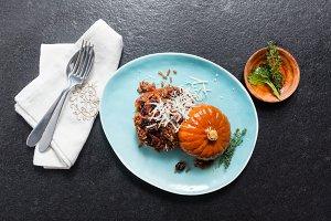 Pumpkin stuffed with rice