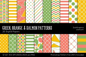 Green Orange Salmon Digital Papers