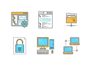 Lineart colored programming iconset
