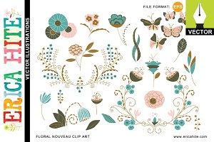 Floral Nouveau: Vector Art +Bonus