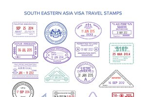 Passport visa stamps set Europe