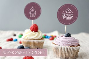 Set of 22 Desserts and Cakes icons