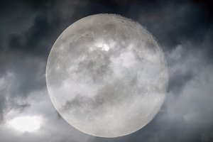 Moon in stormy weather
