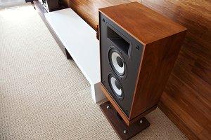 Vintage loudspeaker in modern room