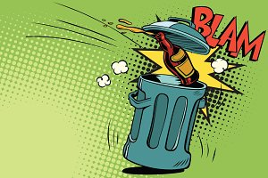 Stop alcohol, beer bottle flies into the garbage