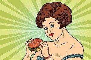 Beautiful sexy woman and Burger