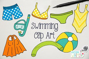 Swimming & Snorkeling Illustrations
