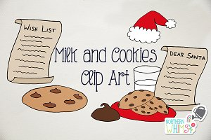 Christmas Clip Art - Milk & Cookies