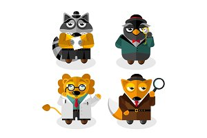 Animal professions cartoon characters set