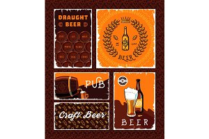 Vintage craft beer vector banner set