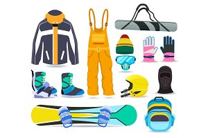 Snowboarding winter sports equipment set