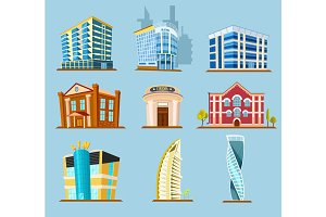 Various buildings construction vector icon