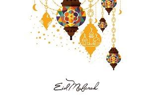 Eid Mubarak arabic muslim card design
