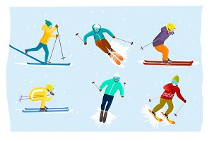 People skiing set in flat design