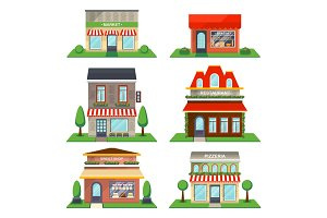 Restaurant and shop facade isolated vector set