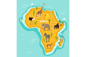 African animals wildlife vector illustration