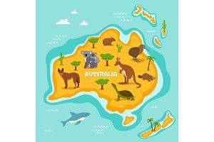 Australian map with wildlife animals