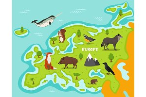European map with wildlife animals