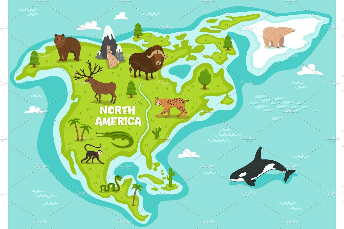 North American Map With Wildlife Animals Illustrations Creative
