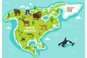 North american map with wildlife animals