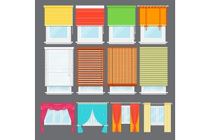 Detailed window isolated vector set